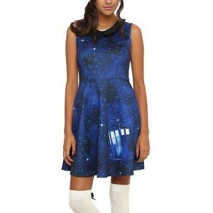Hot Topic Doctor Who blue galaxy TARDIS mini dress